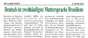 Namib Times Deutsch ist zweithäufigste Muttersprache Brasiliens Akstinat Internationale Medienhilfe